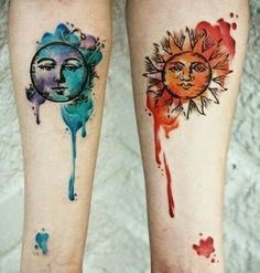unique Watercolor tattoo - Sun And Moon Tattoos