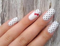 Black and white polka dot nail design black and white nails red nail bow polka dots pretty nails nail art nail ideas nail designs White Nail Art, White Nails, Red Nails, Hair And Nails, White Art, White Glitter, White Bows, Nail Black, Dot Nail Designs