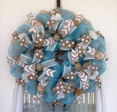 """22"""" Tan Burlap and Aqua Deco Mesh Wreath"""