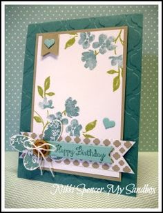 """Friday, May 2015 Nikki Spencer-My Sandbox: Just Add Ink Painted Petals, Lost Lagoon, Sahara Sand """"such a calming, soft combination"""" Butterfly Cards, Flower Cards, Pretty Cards, Cute Cards, Card Making Inspiration, Making Ideas, Card Tags, Homemade Cards, Stampin Up Cards"""