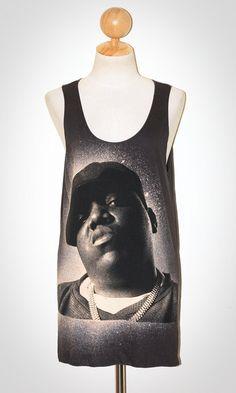 Biggie Smalls Charcoal Black Tank Top Singlet Sleeveless Art Hip Hop Rapper Rock T-Shirt Size S