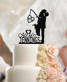 Personalized Wedding Cake Topper Mr & Mrs, Custom Name Fiance & Fiancee Surname