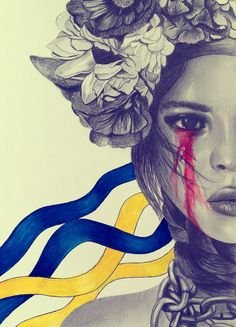 Revolution with Ukrainian icons (flower crown and ribbons in Ukrainian flag color.Blue to represent the sky and yellow to represent wheat and Ukraine's incredibly fertile soil. Traditional Ukrainian Tattoo, Ukrainian Art, Ukraine, Cover Pics For Facebook, Tatoo Art, My Heritage, Street Art, Folk, Culture