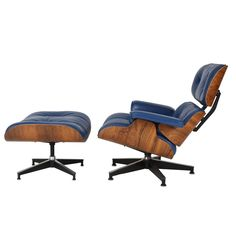 Vintage 670-671 Eames Rosewood Lounge Chair and Ottoman in Blue Leather | From a unique collection of antique and modern lounge…