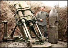 WWI; German 38cm sehr schwere Minenwerfer trench mortar, c 1918. -Doug (@colour_history)   Twitter