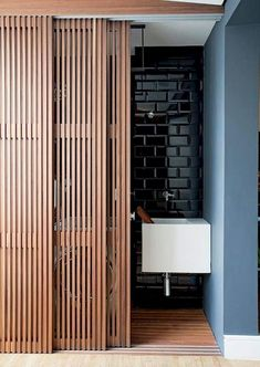 Modern Bathroom Vanities – In this year, the minimalist house became a trend decor house. Interior decoration can apply to some room in your houses . Interior Barn Doors, Home Interior, Interior Architecture, Interior Folding Doors, Midcentury Interior Doors, Brewery Interior, Interior Design, Architecture Details, Sliding Door Design
