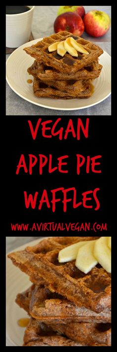 These healthier Apple Pie Waffles are fluffy on the inside, crunchy on the outside and full of soft, juicy apple pieces and sweet cinnamon.