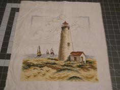 Nantucket lighthouse.     Finished counted cross stitch ready to frame. by SewingBoxTreasures on Etsy