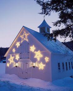 shooting stars, holiday, winter, church, barn, christmas lights, white christmas, garden stakes, christmas stars