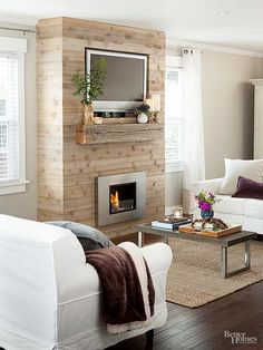 Ideas for sustainable living including paint, flooring, and salvaged materials Candles In Fireplace, Fireplace Seating, Shiplap Fireplace, Small Fireplace, Concrete Fireplace, Living Room With Fireplace, Cozy Living Rooms, Fireplace Design, Living Room Decor