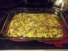 GF sausage hash brown casserole 3 1/2c frozen shredded hash brown;1lb browned sausage;1c shredded Cheddar;6 eggs, beaten;3/4c milk;1t dry mustard;1/2t salt;1 1/2t pepper**Spread hash browns into greased 9X13 pan; Sprinkle cooked sausage and cheese over top; In bowl, combine eggs, milk, dry mustard, s+p; Pour egg mixture over sausage and hash. Refrigerate 2hrs-overnight; Remove from fridge 20min before baking; Cover and bake 30min @350. Uncover and bake 10-15min or until center is set.