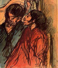 """""""Pareja de gitanos, 1904"""". Pluma, pastel y acuarela.19,5 x 16 cms. Gabinete de Dibujos y Grabados del MNAC, Barcelona. España."""