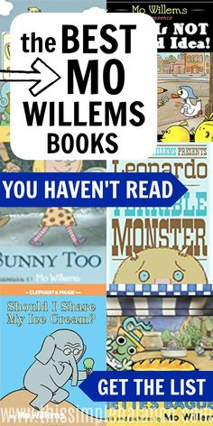 Mo Willems is perhaps best known for his Elephant and Piggie books. But if that's all you've read, you are missing some of the best Mo Willems books ever. Get this Mo Willems book list: your kids will love these books! Books For Boys, Childrens Books, Pigeon Books, Overwhelmed Mom, Mo Willems, Reluctant Readers, Author Studies, Preschool Books, Chapter Books