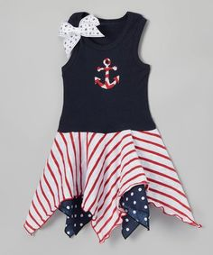 Loving this Red Stripe Anchor Handkerchief Dress - Infant, Toddler & Girls on #zulily! #zulilyfinds