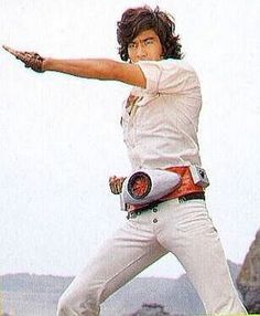 Takeshi Hongo doing his transformation routine to become Kamen Rider Ichigo