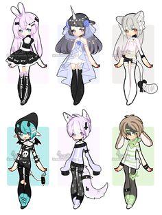 +Random adopts [ CLOSED] set price by Hunibi on DeviantArt Cute Anime Character, Character Art, Kawai Japan, Drawing Anime Clothes, Cute Kawaii Drawings, Cute Anime Chibi, Fashion Design Drawings, Drawing Base, Cartoon Art Styles