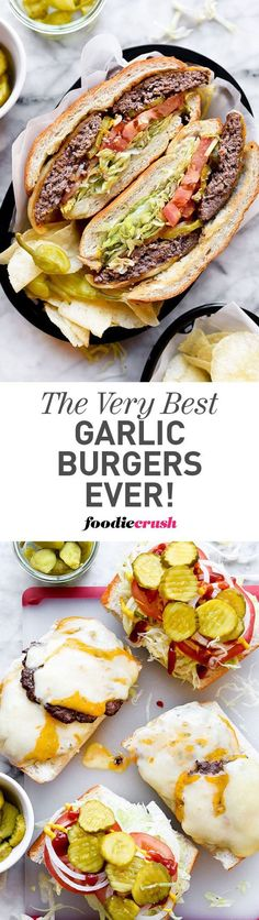 These world famous garlic burgers have just three seasonings and a legion of fans, and are simply one of the very best burgers you'll ever bite into | foodiecrush.com #hamburgers #cheeseburgers #grilling