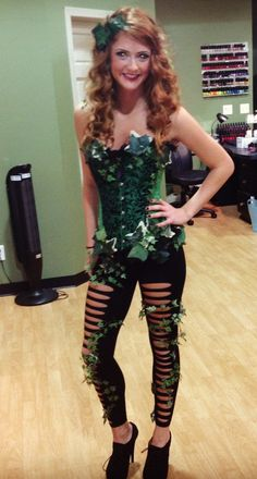 Halloween costume. Poison Ivy. Corset and leggings.