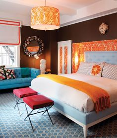 jonathan adler bedroom - orange brown blue - style at home Bedroom Orange, Bedroom Colors, Bedroom Decor, Bedroom Ideas, Damask Bedroom, Bedroom Designs, Bedroom Inspiration, Bedroom Brown, Color Inspiration