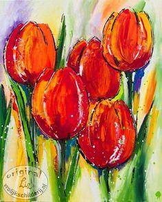 Vrolijk Schilderij van tulpen
