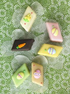 """SUPER cute Petit Fours  """"Dragonfly Cakes handcrafts each one like a layer cake with moist white cake, buttercream, jam and marzipan."""""""