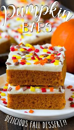 These pumpkin bars are light and fluffy cake bars made with pumpkin puree and spices, then topped with a layer of cream cheese frosting and sprinkles. Pumpkin Chocolate Chip Cookies, Pumpkin Bars, Pumpkin Dessert, Pumpkin Puree, Pumpkin Spice, Fall Dessert Recipes, Thanksgiving Desserts, Fall Desserts, Health Desserts