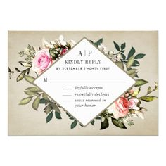 Vintage Rose Floral Greenery Wedding RSVP Cards - invitations custom unique diy personalize occasions