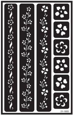 ArmourOver N Over Reusable Stencils 5 X 8 Flower Border Henna Stencils, Stencil Art, Flower Stencils, Stenciling, Stencil Templates, Stencil Designs, Wall Stencil Patterns, Glass Etching Stencils, Cnc Cutting Design