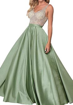 f5cb78cb27c Lilyla A-Line Long Prom Dresses Double V-Neck Beaded Satin Evening Party Gowns  Bridesmaid dress - green