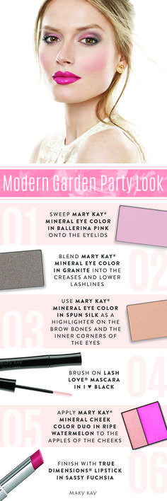 With spring comes parties! Create a vibrant garden-inspired makeup look that pops. Try pretty colors like  Mary Kay® Mineral Eye Color in Ballerina Pink and True Dimensions® Lipstick in Sassy Fuchsia to feel on trend.