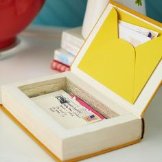 Create a keepsake box to hold notes & letters using an old book. Apply crafts glue to the inside back cover and close the book. When dry, apply glue to the book's edges and let dry. Mark a rectangle on the first page about 1 inch from the sides. Use a craft knife to cut along the mark and through several pages. Remove the cut pages & continue to desired depth. Seal the cut pages with glue.