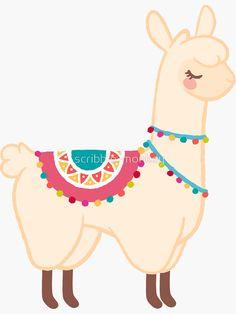 'Llama' Sticker by scribble-monkey Alpacas, Llamas Animal, Llama Drawing, Llama Clipart, Llama Pictures, Llama Arts, Llama Birthday, Cute Llama, Llama Alpaca