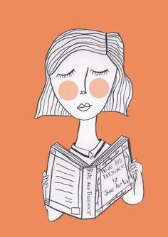 alinedraws: Reading Jane Austen is always a good idea. Aline Jorge aka Vermelho Panda. Available here.