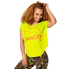 SPIRITUAL DANCER TULIP TOP - ZUMBA GREEN ------------------ Nourish your mind, body and soul with the Spiritual Dancer Tulip Top! The washed out look and feel makes you look effortlessly cool while the tulip style silhouette lets you get loose!