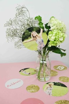 Glam Graduation Party Ideas - centerpiece ideas using #PearTreeGreetings graduation party decorations