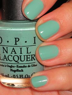 'Mermaid's Tears' by OPI  This is my favorite color right now, but I am having a hard time with OPI being really streaky/gloppy on me even when it is brand new.  :(