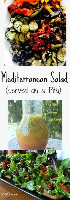 A super healthy and delicious Mediterranean salad made with homemade roasted vegetables and a homemade Greek salad dressing...the perfect recipe for success! | www.MmGood.com