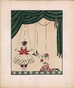 Nijinsky dans Petrouchka tiré de Dessins sur les danses de Vaslav Nijinsky par George Barbier