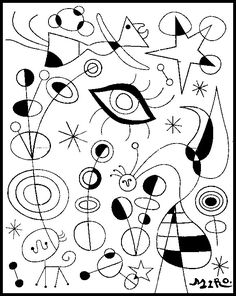 Joan Miro -  even without the use of colour, Miro manages to capture imagination and intrigue through the flowing lines connecting the various shapes throughout the piece of art.