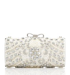 FOREVER NEW: Marsha Beaded Clutch.Beaded clutch with bow detail and clasp fastening. Also comes with detachable chain.