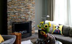 Jagged brick fireplace
