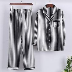 Smmoloa Women Silk Satin Striped Pajama Set Long Sleeve Sleepwear Spring  Autumn Pyjama Sets 229646a6e