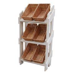 Wooden retail display stand with 6 wicker baskets матрешка w Wicker Dresser, Wicker Shelf, Wicker Tray, Wicker Table, Wicker Baskets, Wicker Furniture, Bakery Display, Fruit Shop, Wicker Bedroom