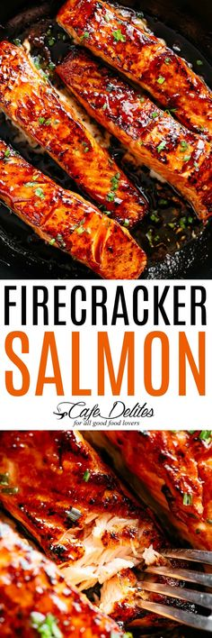 Firecracker Salmon Recipe - Succulent Firecracker Salmon recipe, flakey and tend. - Firecracker Salmon Recipe – Succulent Firecracker Salmon recipe, flakey and tender on the inside - Baked Salmon Recipes, Fish Recipes, Seafood Recipes, Dinner Recipes, Cooking Recipes, Healthy Recipes, Yummy Salmon Recipe, Oven Baked Salmon, Cod Recipes