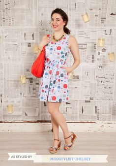Air of Adorable Dress in Balloons. Encourage your flair for fashion to take flight with this darling dress in the cheeriest print youve ever seen! #blue #modcloth