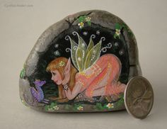 Painted rock - painted stone - fairy art - dragon on rock - fairy rock - fairy house - stone house - fairy garden - garden decor - dragon by NightOwlFineArt on Etsy