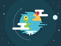 Earth Illustration by Justas Galaburda for Retro Design, Icon Design, Flat Design, Web Design, Flat Illustration, Graphic Design Illustration, Graphic Illustrations, Affinity Designer, Logo Color