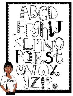 Clip Art~ Doodle Alphabet by Cara's Creative Playground Cool Fonts Alphabet, Doodle Alphabet, Art Doodle, Doodle Art Letters, Doodle Fonts, Handwriting Alphabet, Hand Lettering Alphabet, Doodle Lettering, Creative Lettering