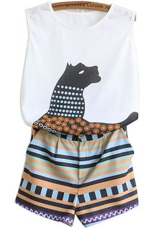White Sleeveless Animal Geometric Print Top With Shorts US$22.80