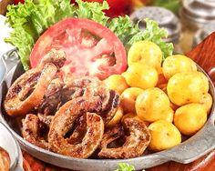 Chunchullo con papa criolla Colombian Cuisine, Colombian Recipes, Shrimp